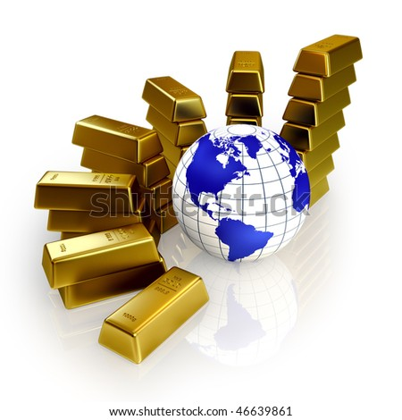 Gold bars abstract graph and 3d globe (3d render)