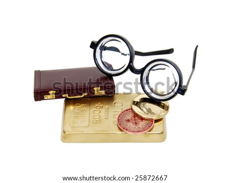 Gold bars and coins for investing for the future with a briefcase and smart glasses