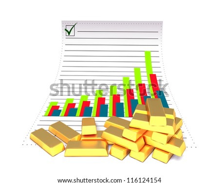 Gold bars and document paper on the white background - stock photo