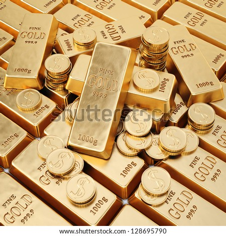gold bars and gold coins. - stock photo