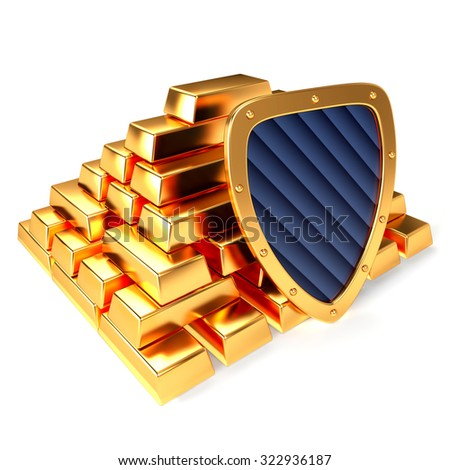 Gold bars and gold shield, 3D illustration