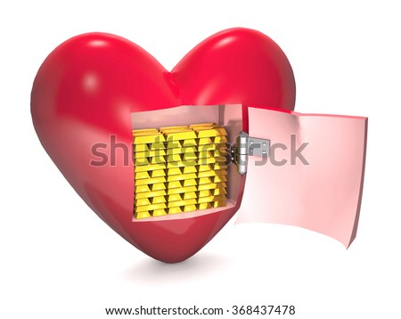 Gold bars are into red heart on white background. - stock photo