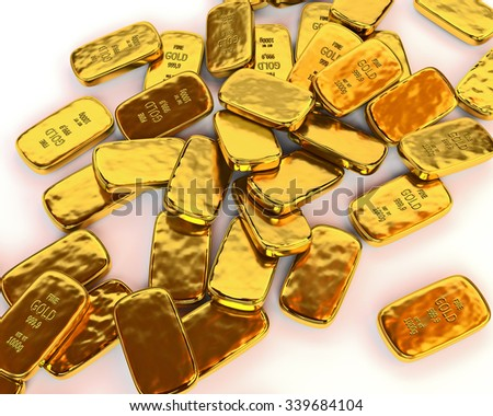 Gold bars are scattered on a white surface. 3D illustration. render - stock photo