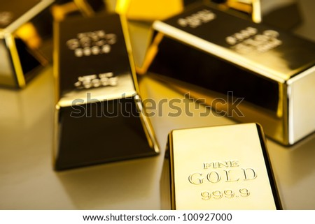 Gold bars background - stock photo