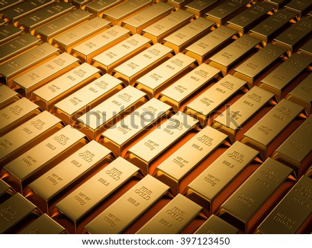 Gold bars background series , Financial concept , 3d render - stock photo