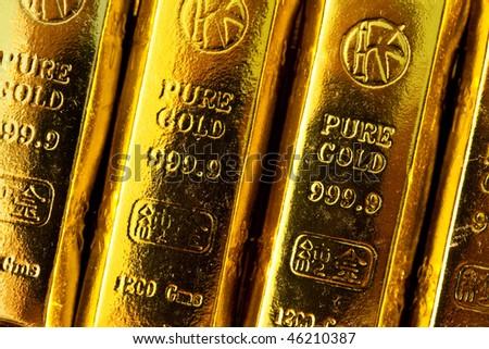 Gold bars close up shot - stock photo