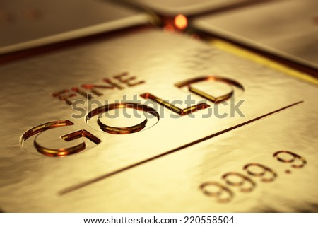 Gold Bars Close-up with shallow DOF (3D artwork) - stock photo