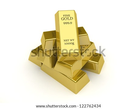 Gold bars. Concept 3D illustration - stock photo