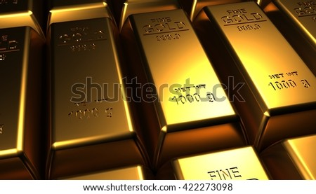 Gold bars 3D illustration background - stock photo