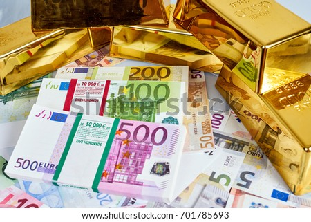 Gold bars, Financial, business investment concept. Gold Bars. Euro Money