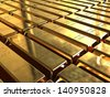 Gold bars. Gold ingots stacked in neat rows. - stock photo