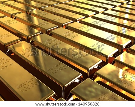 Gold bars. Gold ingots stacked in neat rows.