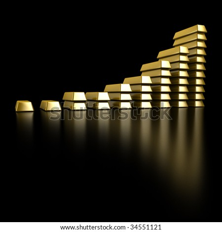 Gold Bars graph - stock photo