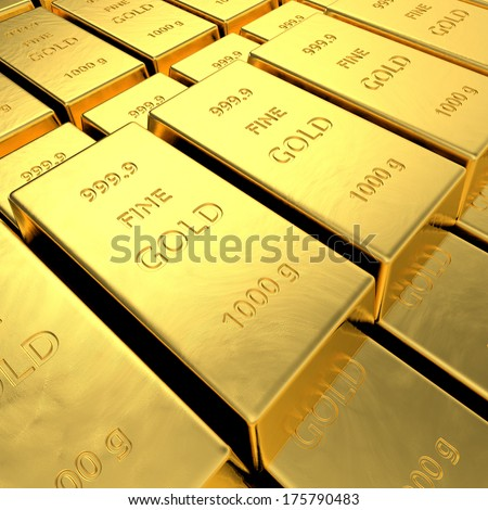 Gold bars. High resolution 3D rendering.