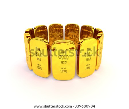 Gold bars in a stack on white background - stock photo