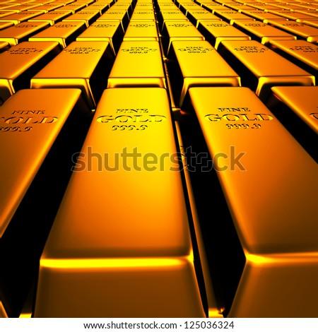Gold Bars in Line - stock photo