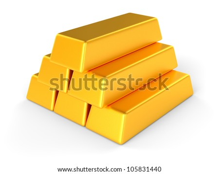 Gold bars isolated on the white background