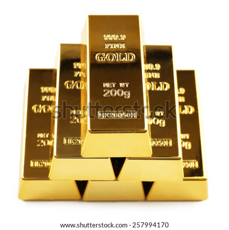Gold bars isolated on white - stock photo