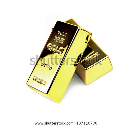 Gold bars isolated on white background. - stock photo