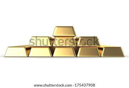 gold bars isolated on white background - stock photo