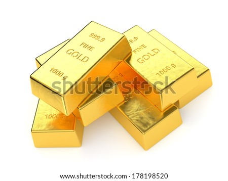 Gold bars isolated on white background. Computer generated image with clipping path.