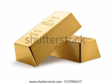 Gold bars isolated on white background. Financial concept. Set of Gold bars.