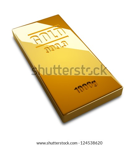 gold bars isolated on white background. High resolution. 3D image