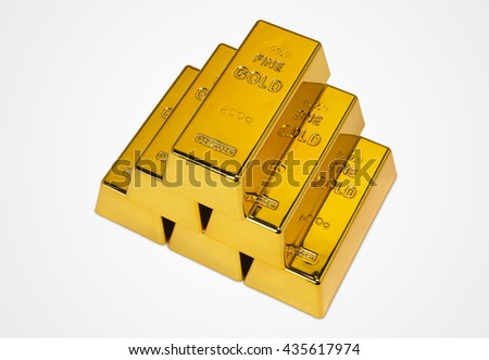 Gold Bars Isolated on White Background Photograph (with clipping path) - stock photo