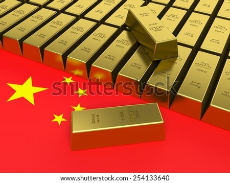 Gold bars on top of China flag. China Gold reserves concept.  - stock photo