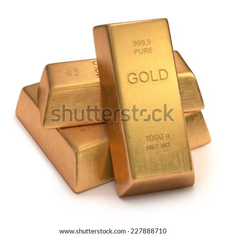 Gold Bars on white background. Clipping path included. - stock photo