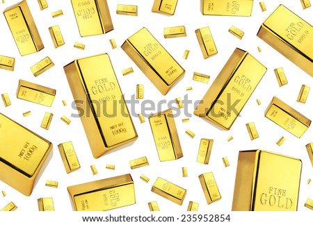 Gold bars rain on white background  - stock photo