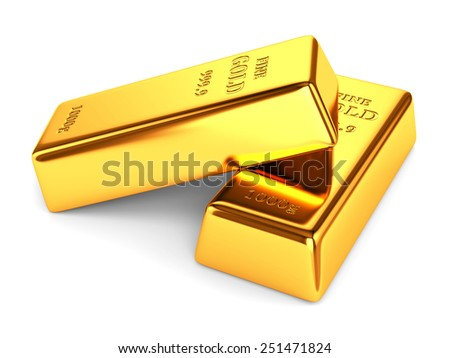 Gold bars. Two golden ingots isolated on white background. - stock photo