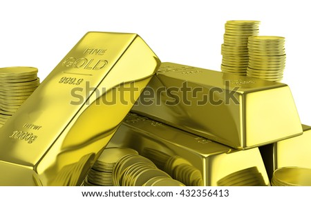 Gold bars with coins. Financial concept. 3d illustration
