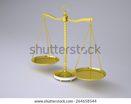Gold beam balance with shadow. Classical style. Front view. Gray background - stock photo