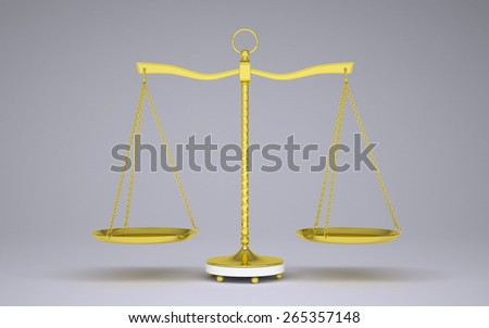 Gold beam balance with shadow. Front view. Gray background - stock photo