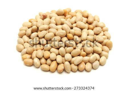 Gold beans of Fortore (rare italian cultivar) on a white background - stock photo