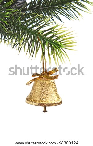gold bell on the Christmas tree isolated on white background - stock photo