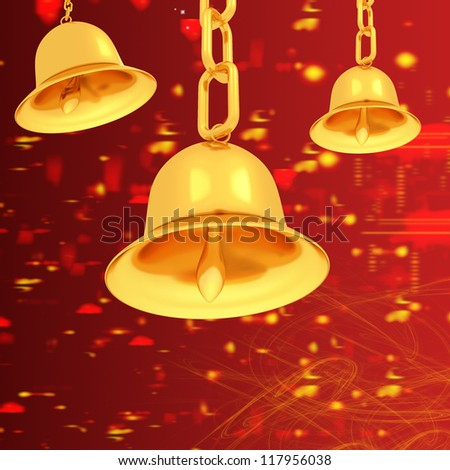 Gold bell on winter or Christmas style background - stock photo