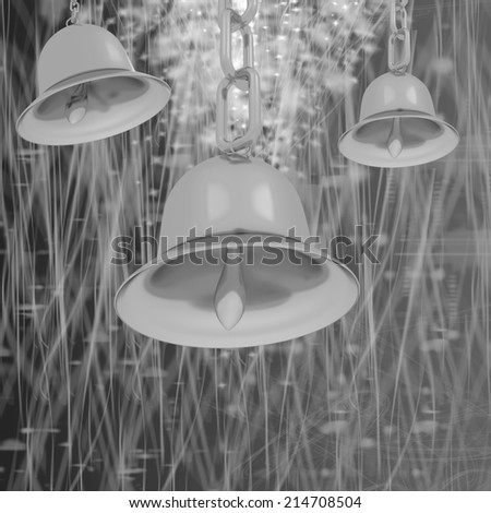 Gold bell on winter or Christmas style background with a wave of stars - stock photo