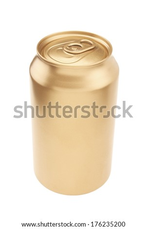 Gold Beverage Can with a Background Clipping Path - stock photo