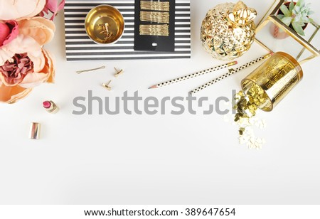Gold & Black. Header website or Hero website, Mockup product view table gold accessories. Flat lay. Workspace. Background mock-up. Peonies in vase - stock photo
