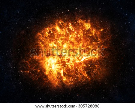 Gold & Blue Explosion in Deep Space - Elements of this Image Furnished by NASA - stock photo