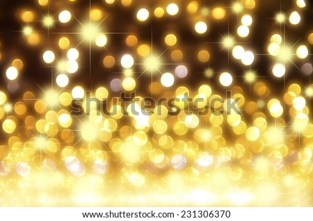 gold bokeh for Christmas background - stock photo