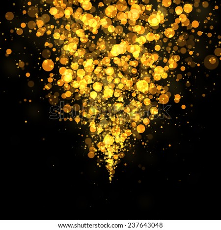 gold bokeh glittering abstract background - stock photo