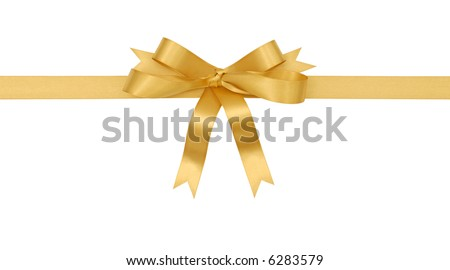 Gold bow, ribbon, horizontal, isolated