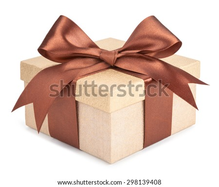 Gold box with gifts and brown bow isolated om white background - stock photo