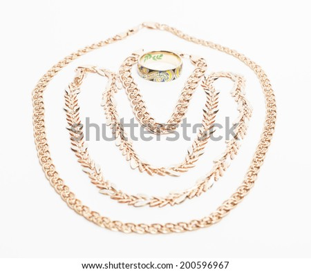 gold bracelet, chain and ring