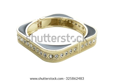 gold bracelet with diamonds isolated on white