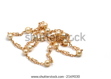 Gold bracelet with pearls in the white, luxury concept