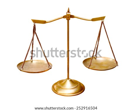 gold brass balance scale isolated on white background use for multipurpose object - stock photo